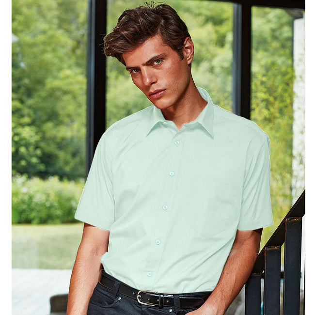 Rich Violet - Front - Premier Mens Short Sleeve Formal Poplin Plain Work Shirt