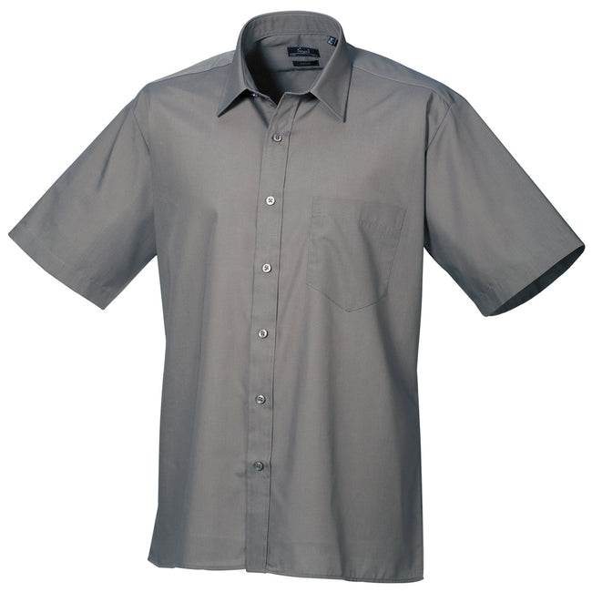 Rich Violet - Back - Premier Mens Short Sleeve Formal Poplin Plain Work Shirt