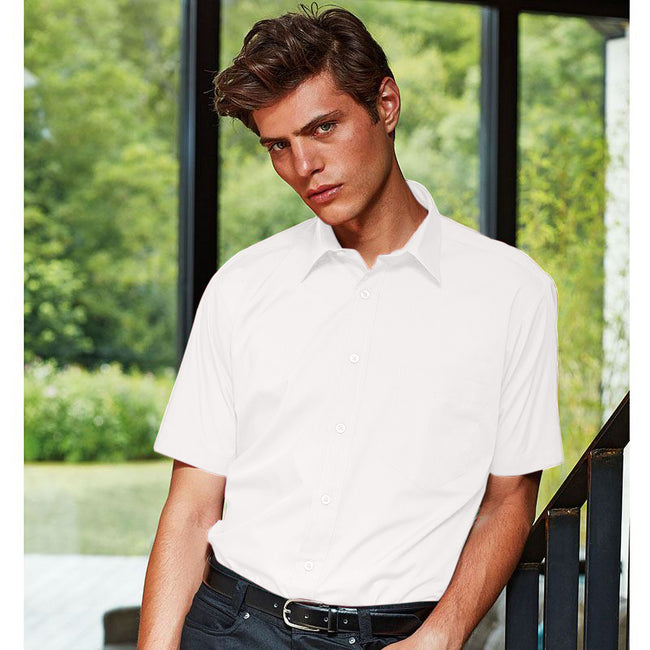 Turquoise - Front - Premier Mens Short Sleeve Formal Poplin Plain Work Shirt