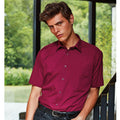 Burgundy - Back - Premier Mens Short Sleeve Formal Poplin Plain Work Shirt