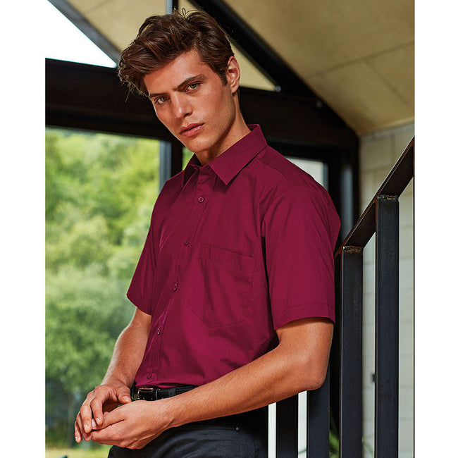 Burgundy - Side - Premier Mens Short Sleeve Formal Poplin Plain Work Shirt
