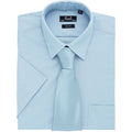 Light Blue - Back - Premier Mens Short Sleeve Formal Poplin Plain Work Shirt