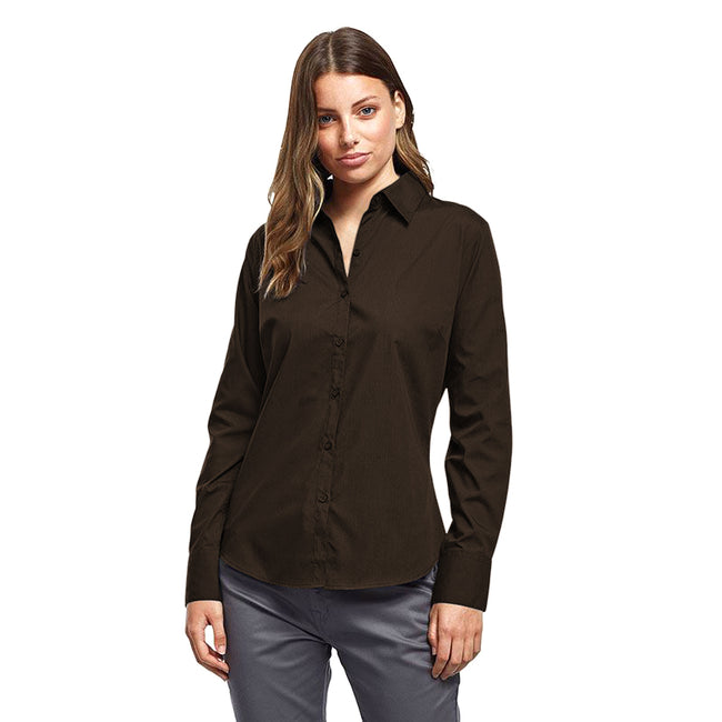Burgundy - Front - Premier Womens-Ladies Poplin Long Sleeve Blouse - Plain Work Shirt