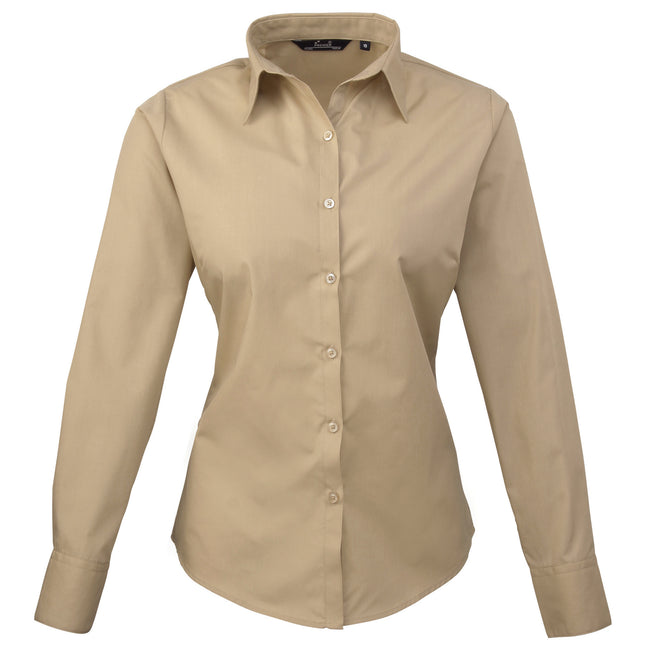 Khaki - Back - Premier Womens-Ladies Poplin Long Sleeve Blouse - Plain Work Shirt