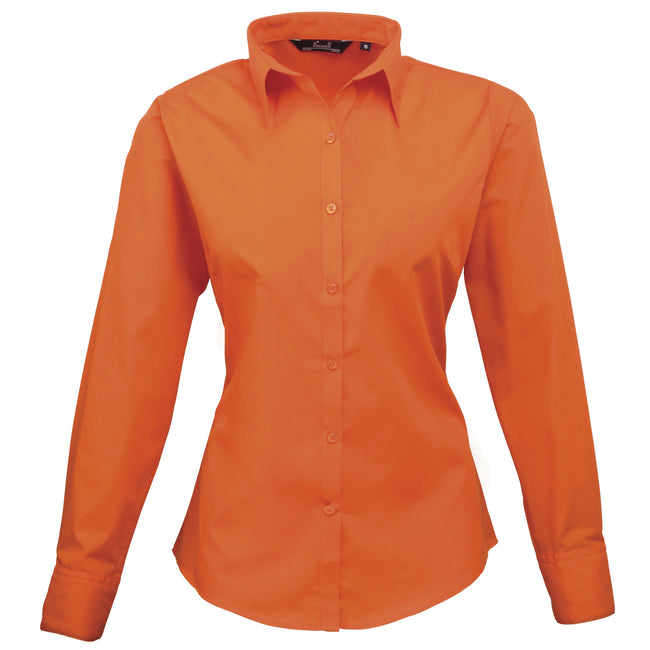 Orange - Back - Premier Womens-Ladies Poplin Long Sleeve Blouse - Plain Work Shirt
