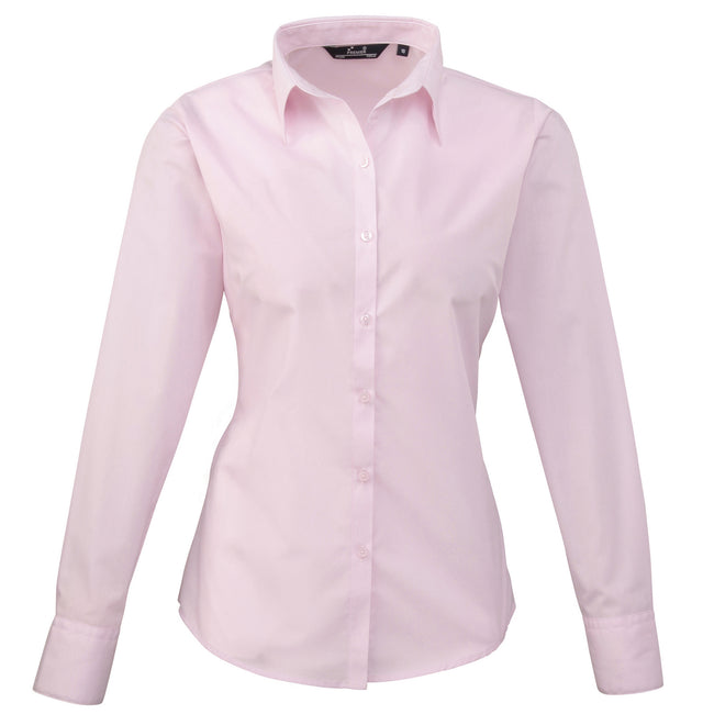 Pink - Back - Premier Womens-Ladies Poplin Long Sleeve Blouse - Plain Work Shirt