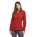 Red - Back - Premier Womens-Ladies Poplin Long Sleeve Blouse - Plain Work Shirt