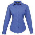Red - Side - Premier Womens-Ladies Poplin Long Sleeve Blouse - Plain Work Shirt