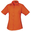 Burgundy - Front - Premier Short Sleeve Poplin Blouse - Plain Work Shirt