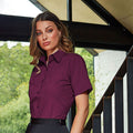 Khaki - Back - Premier Short Sleeve Poplin Blouse - Plain Work Shirt