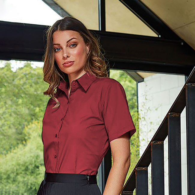 Mid Blue - Back - Premier Short Sleeve Poplin Blouse - Plain Work Shirt