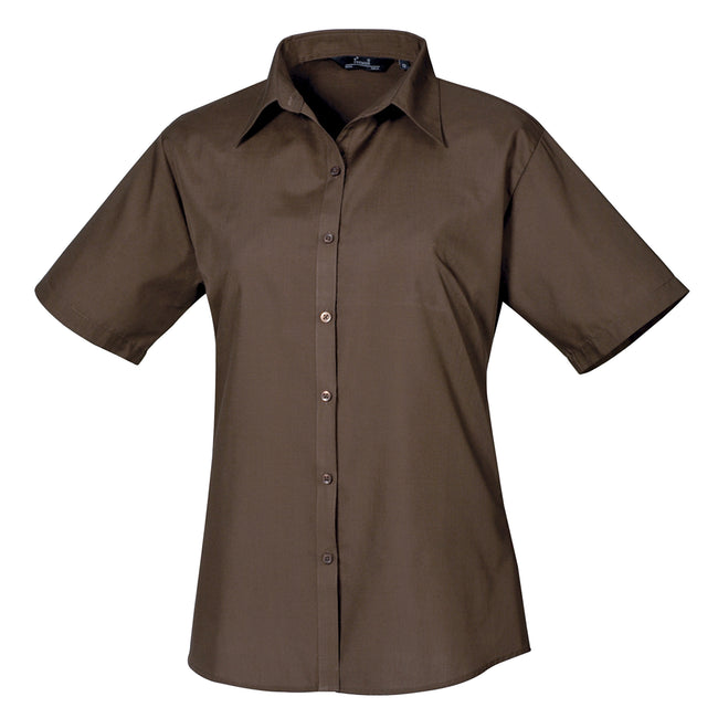 Navy - Front - Premier Short Sleeve Poplin Blouse - Plain Work Shirt