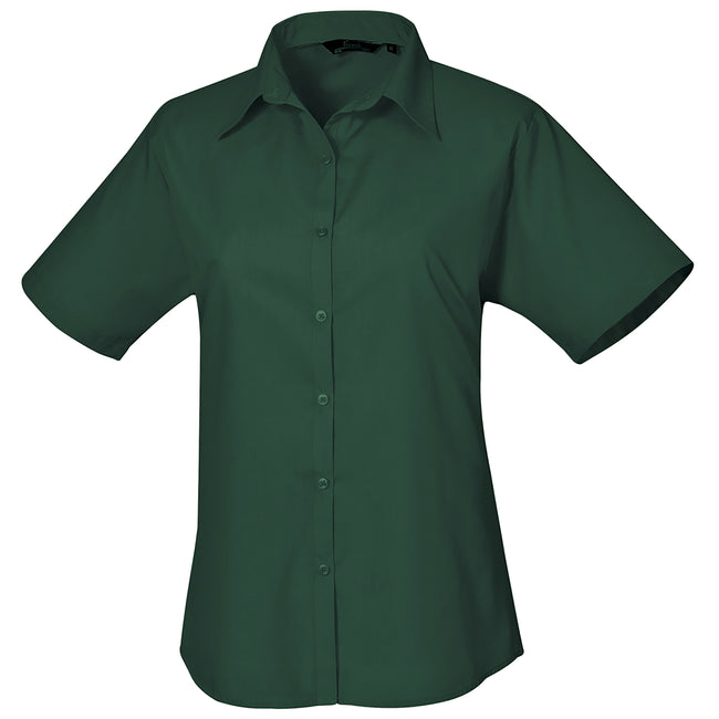 Pink - Front - Premier Short Sleeve Poplin Blouse - Plain Work Shirt