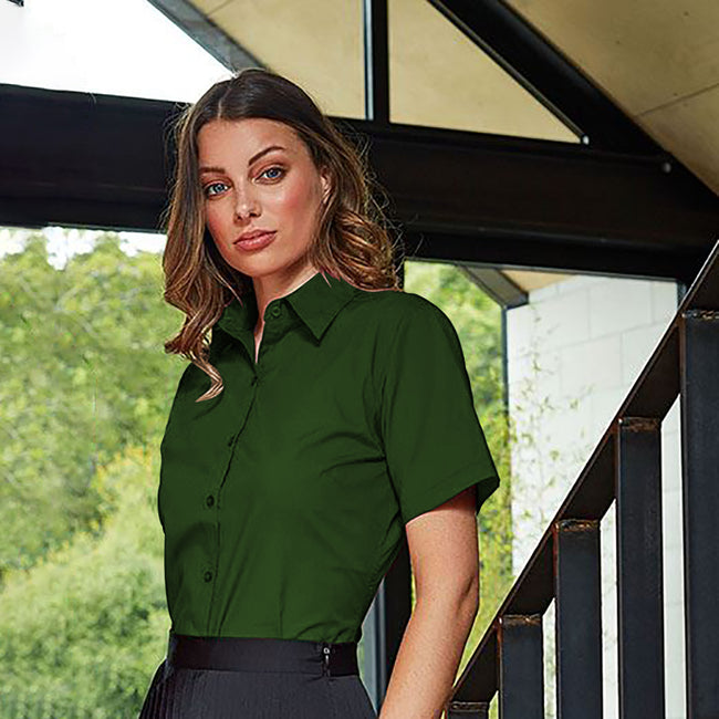 Pink - Back - Premier Short Sleeve Poplin Blouse - Plain Work Shirt
