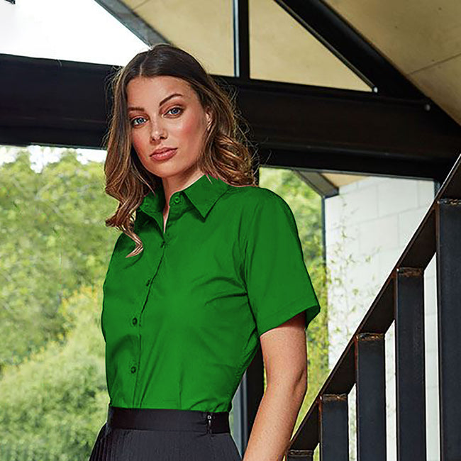 Purple - Back - Premier Short Sleeve Poplin Blouse - Plain Work Shirt