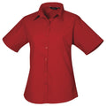 Red - Front - Premier Short Sleeve Poplin Blouse - Plain Work Shirt