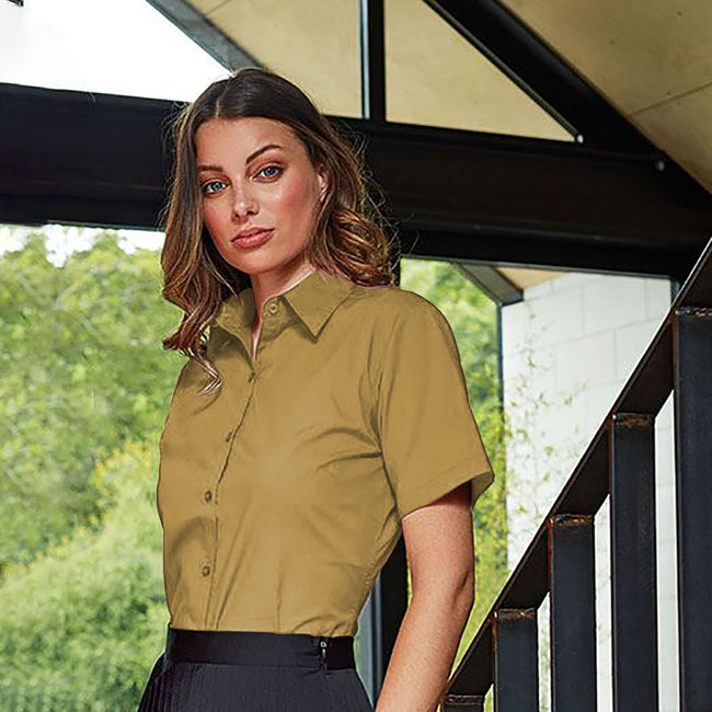 Red - Back - Premier Short Sleeve Poplin Blouse - Plain Work Shirt