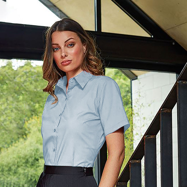 Rich Violet - Back - Premier Short Sleeve Poplin Blouse - Plain Work Shirt