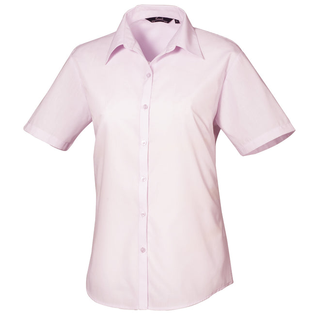 Turquoise - Front - Premier Short Sleeve Poplin Blouse - Plain Work Shirt