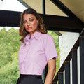 Turquoise - Back - Premier Short Sleeve Poplin Blouse - Plain Work Shirt