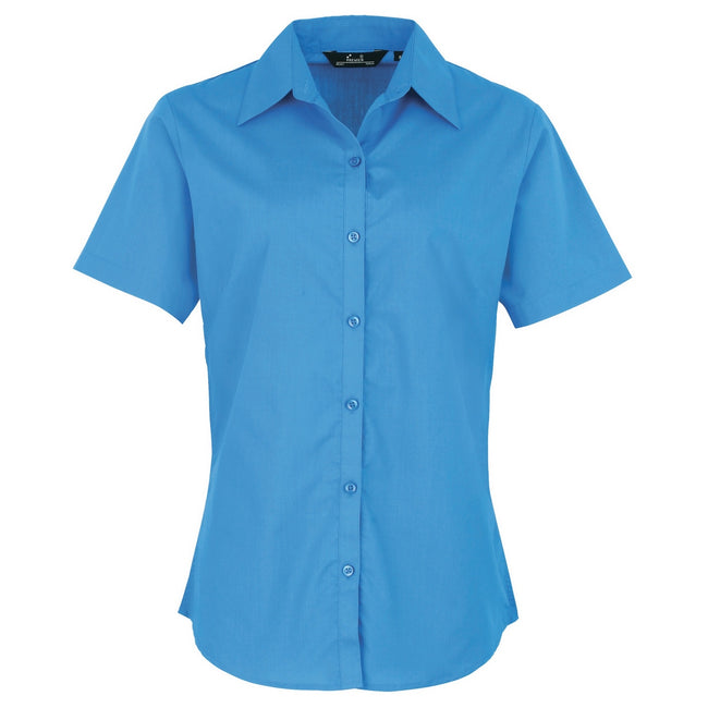 Sapphire - Front - Premier Short Sleeve Poplin Blouse - Plain Work Shirt
