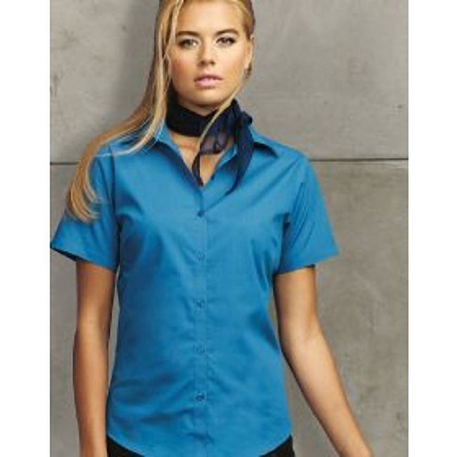 Sapphire - Back - Premier Short Sleeve Poplin Blouse - Plain Work Shirt