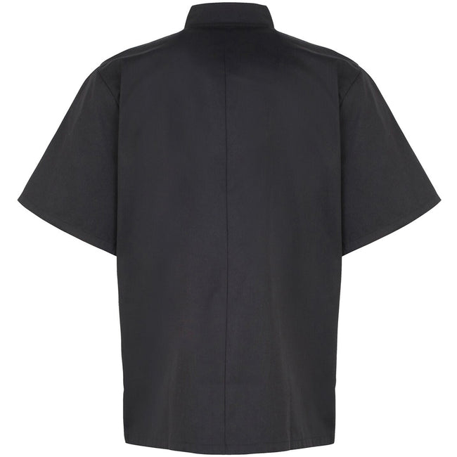 Black - Back - Premier Unisex Studded Front Short Sleeve Chefs Jacket