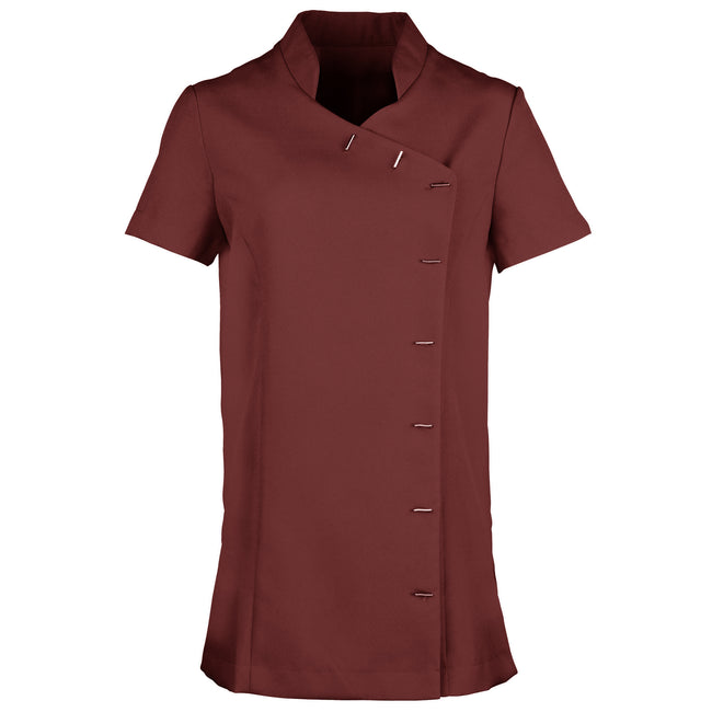 Burgundy - Front - Premier Womens-Ladies *Orchid* Tunic - Health Beauty & Spa - Workwear