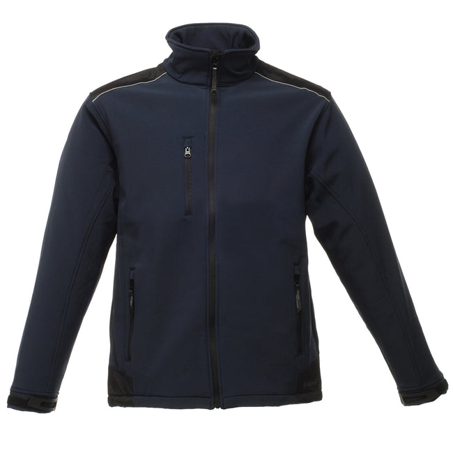 Navy-Black - Front - Regatta Mens Sandstorm Hardwearing Workwear Softshell Jacket (water Repellent)