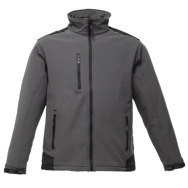 Seal Grey-Black - Front - Regatta Mens Sandstorm Hardwearing Workwear Softshell Jacket (water Repellent)