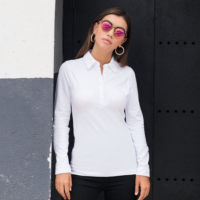 White - Front - Skinni Fit Ladies-Womens Long Sleeve Stretch Polo Shirt