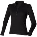 Black - Front - Skinni Fit Ladies-Womens Long Sleeve Stretch Polo Shirt