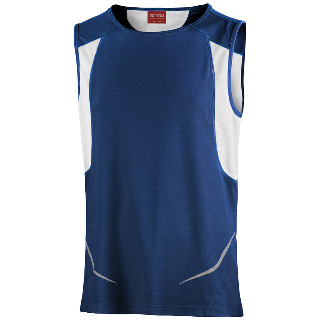 Navy-White - Front - Spiro Mens Sports Athletic Vest Top