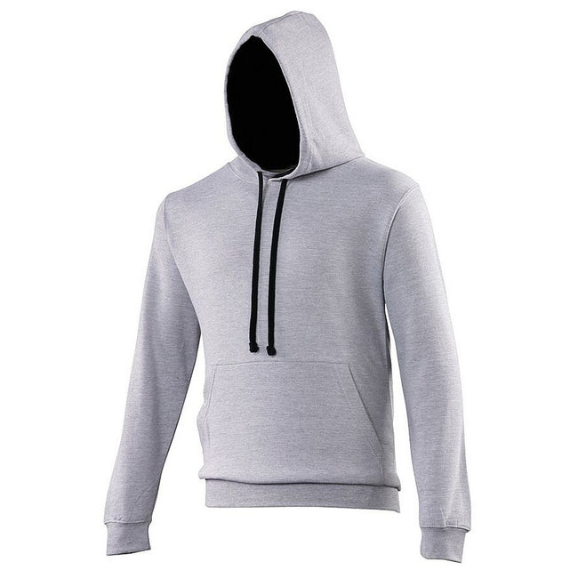 Heather Grey - French Navy - Front - Awdis Varsity Hooded Sweatshirt - Hoodie