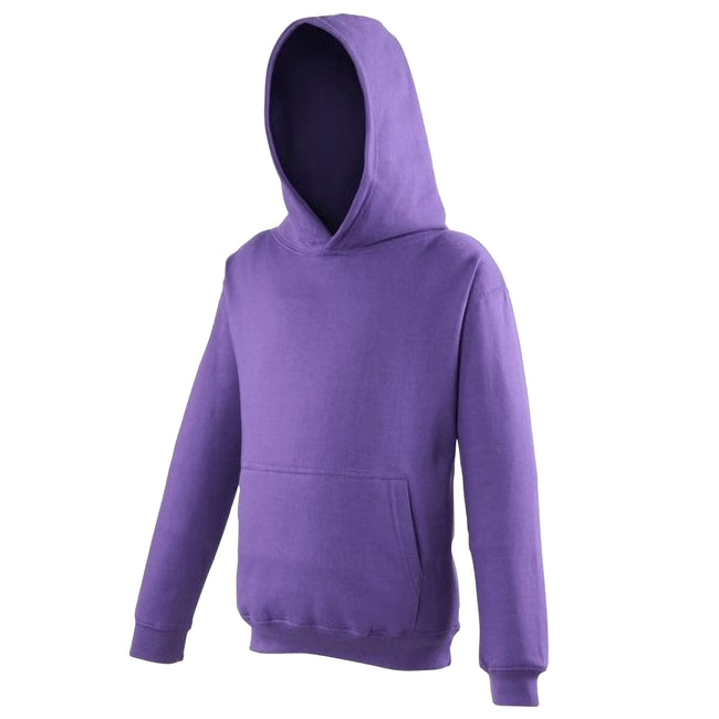 Purple - Front - Awdis Kids Unisex Hooded Sweatshirt - Hoodie - Schoolwear