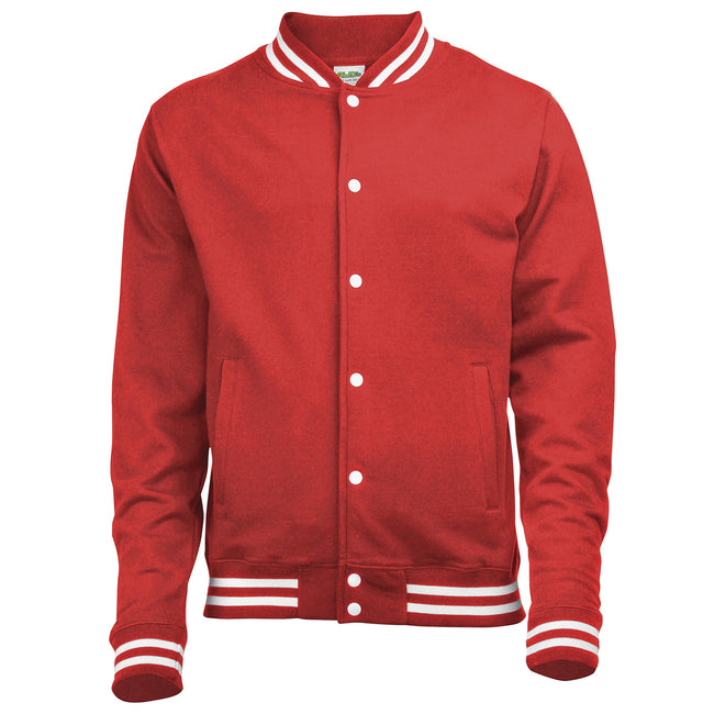 Fire Red - Front - Awdis Adults Unisex College Varsity Jacket