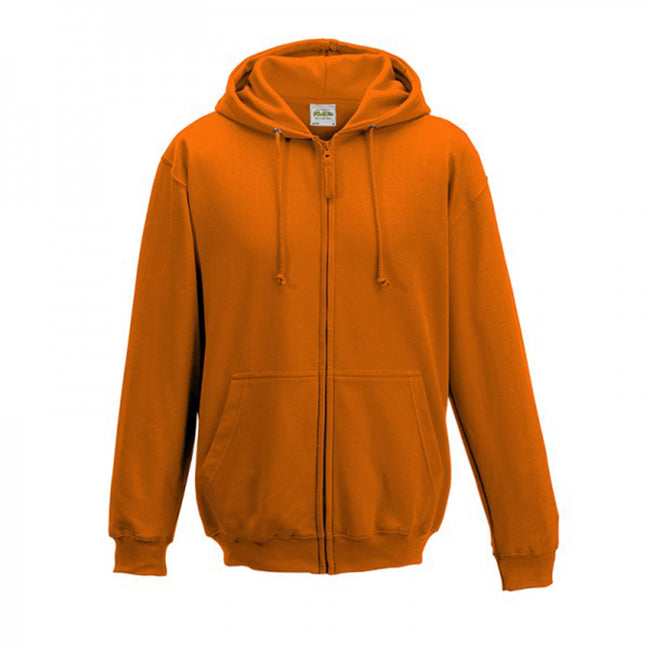 Sun Yellow - Front - Awdis Plain Mens Hooded Full Zip Hoodie - Zoodie