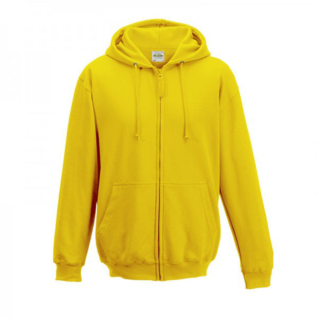 Arctic White - Front - Awdis Plain Mens Hooded Full Zip Hoodie - Zoodie