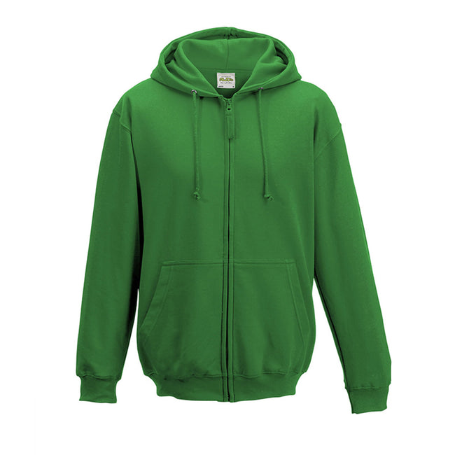 Charcoal - Front - Awdis Plain Mens Hooded Full Zip Hoodie - Zoodie