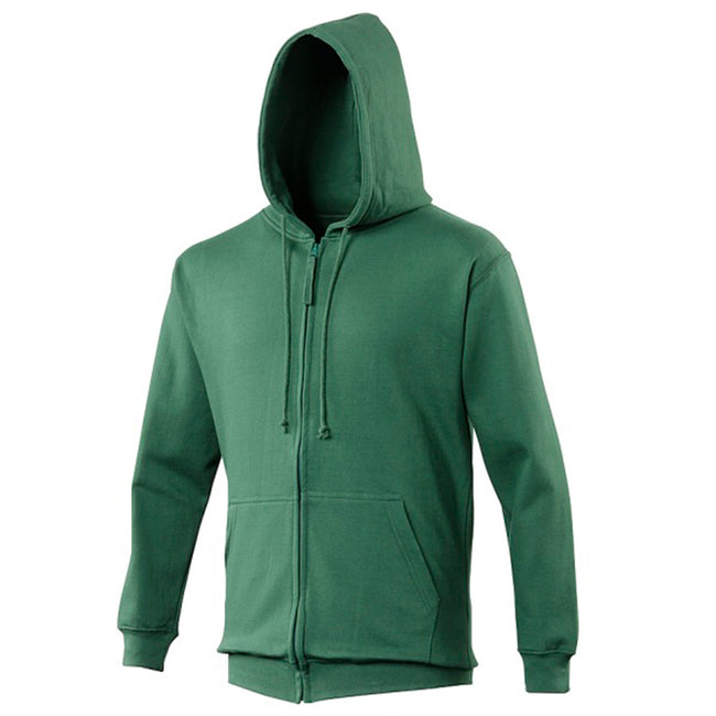 Storm Grey - Front - Awdis Plain Mens Hooded Full Zip Hoodie - Zoodie