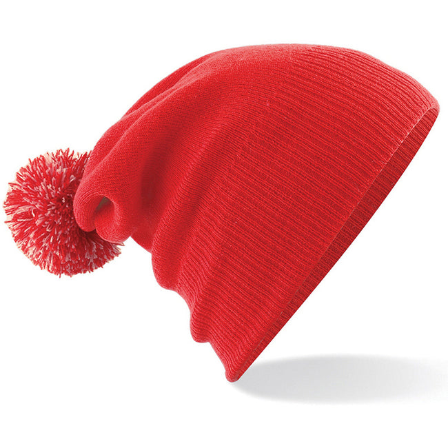 Bright Red - Off White - Back - Beechfield Junior Snowstar Duo Winter Beanie Hat - Schoolwear