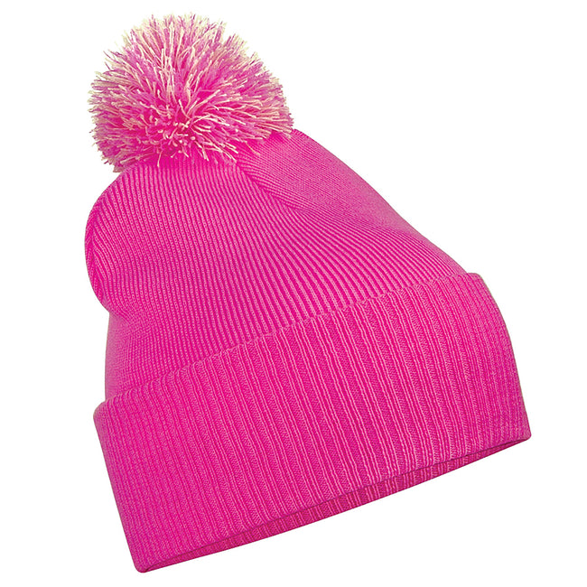 Fuchsia-Off White - Front - Beechfield Junior Snowstar Duo Winter Beanie Hat - Schoolwear
