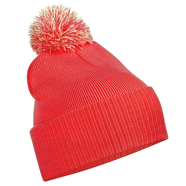 Bright Red - Off White - Front - Beechfield Junior Snowstar Duo Winter Beanie Hat - Schoolwear
