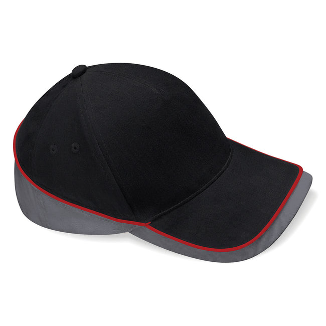 Black-Graphite Grey-Classic Red - Front - Beechfield Unisex Teamwear Competition Cap Baseball - Headwear