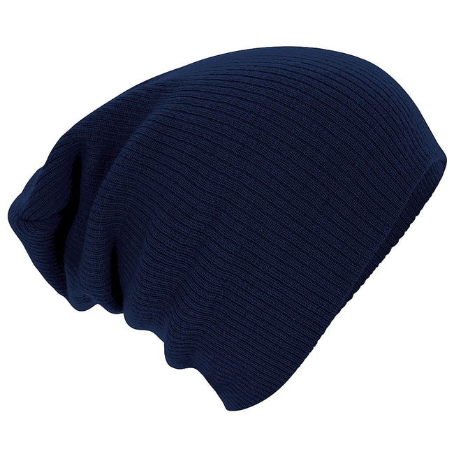 French Navy - Front - Beechfield Unisex Slouch Winter Beanie Hat
