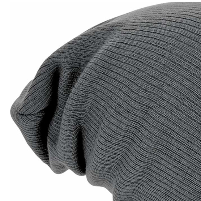 Smoke Grey - Back - Beechfield Unisex Slouch Winter Beanie Hat