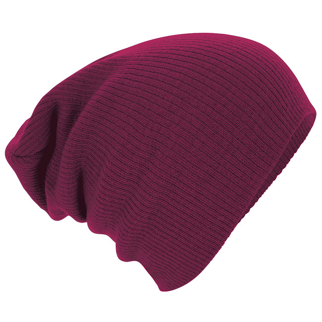 Burgundy - Side - Beechfield Unisex Slouch Winter Beanie Hat