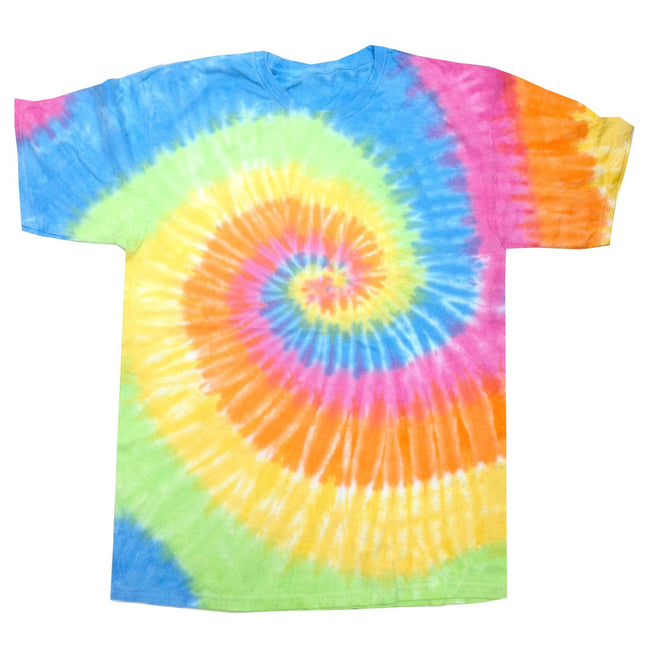 Eternity - Front - Colortone Womens-Ladies Rainbow Tie-Dye Short Sleeve Heavyweight T-Shirt