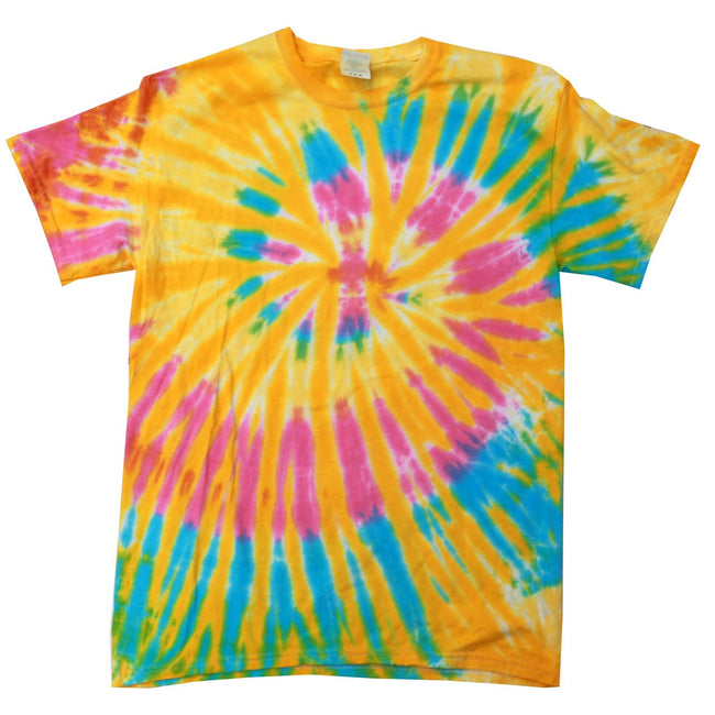 Aurora - Front - Colortone Womens-Ladies Rainbow Tie-Dye Short Sleeve Heavyweight T-Shirt