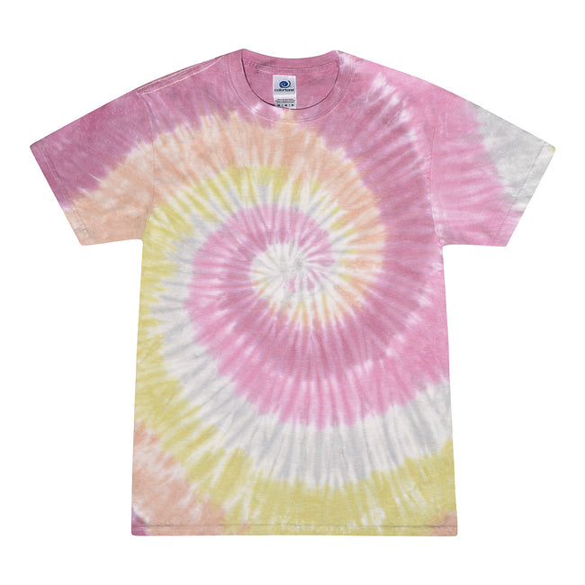 Desert Rose - Front - Colortone Womens-Ladies Rainbow Tie-Dye Short Sleeve Heavyweight T-Shirt